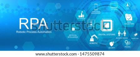 Robotic process automatisation (RPA) concept web banner with Key aspects of the RPA, industry with icons on a nice blue background. Robotic process automatisation Vector illustration  Stock photo ©