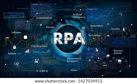 Robotic process automatisation (RPA). Programming Hi-tech devices and robots. RPA concept. Futuristic background with keywords and icons. Vector illustration Stock photo ©