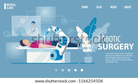 Robotic Surgery Innovative Medicine Flat Landing Page. Modern Medical Technologies. Cartoon Robot Arm Manipulating with OR Patient under Surgeon Control. Innovative Medicine. Vector Illustration
