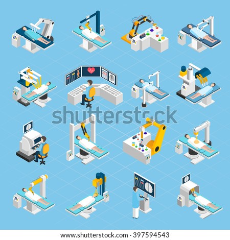 robotic surgery isometric icons