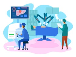 Robotic Surgery. Liver Operation on Screen. Robot in Remote Medicine. Doctors Use Industrial AI. Futuristic Medicine Clinic. People Control Robot Innovation. Artificial Intelligence. Vector EPS 10.