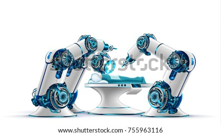 Robotic surgery. Robot surgeon makes a surgery patient on the operating table. Robotic arms holding the surgical instruments. Modern medical technologies. Innovation in medicine. Future concept.