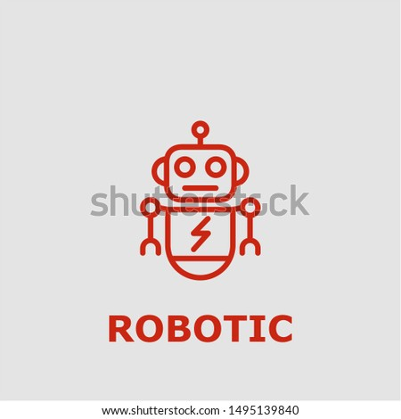 Robotic symbol. Outline robotic icon. Robotic vector illustration for graphic art.