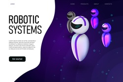Robotic systems landing page concept with levitating robots. Android flying