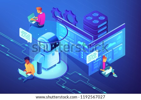Robotics developers team with laptops work on robot automation process. Robotics design and programming, robotics algorithm and software concept. Ultraviolet neon vector isometric 3D illustration.