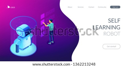 Robotics engineer working with robot data on virtual interface. Robotics data analysis, machine learning, self learning robot and ai concept. Isometric 3D website app landing web page template