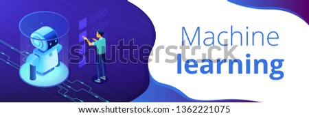 Robotics engineer working with robot data on virtual interface. Robotics data analysis, machine learning, self learning robot and ai concept. Isometric 3D banner header template copy space.