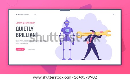 Robotics Engineering, Chatbot and Automatization in Business Website Landing Page. Businessman with Huge Wrench Stand near Cyborg. Robot in Human Life Web Page Banner. Cartoon Flat Vector Illustration