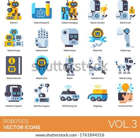 robotics icons including robot