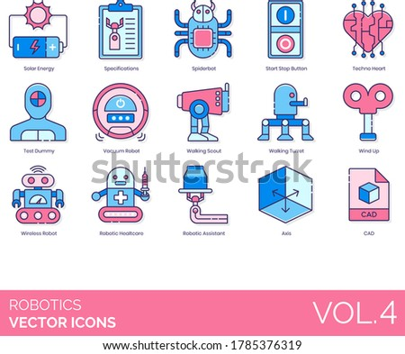 robotics icons including solar