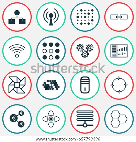 Robotics Icons Set. Collection Of Computing Problems, Algorithm Illustration, Atomic Cpu And Other Elements. Also Includes Symbols Such As Brain, Computing, Microprocessor.