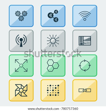 Robotics icons set with information components, related information, mechanism parts and other variable architecture  elements. Isolated vector illustration robotics icons.