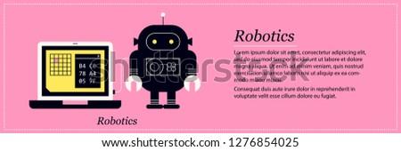 Robotics illustration. Elegant flat style on pink background. Artificial intelligence, programming, mechanical bot.