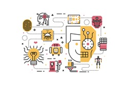 Robotics line icons illustration. Design in modern style with related icons ornament concept for website, app, web banner.
