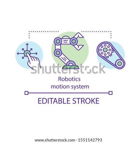 Robotics motion system concept icon. Dynamic robotic system. Multi degree of freedom machine. Operating robot manipulator idea thin line illustration. Vector isolated outline drawing. Editable stroke