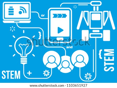 Robotics or STEM-education vector diagram ready for print on T-short, booklet, flyer, poster, etc.
