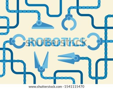 Robotics sign. Robot arms, automation. Robotic process, modern production conveyor. Banner, placard cartoon style.