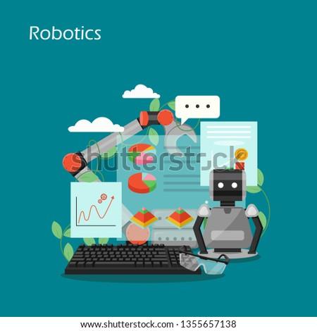 Robotics vector flat style design illustration. Robot, industrial robotic arm, keyboard, charts, graphs. Artificial intelligence, robotic technology, automation concepts for web banner, website page.