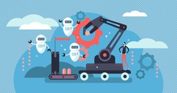 Robotics vector illustration. Flat tiny person concept with future robots. Industry 4.0 - factory job automation, employment crisis and technological adoption to artificial intelligence machinery