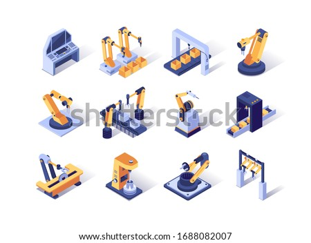 Robotization industry isometric icons set. Automatic equipment, production line manufacturer factory. Robotic arms for conveyor line 3d vector isometry. Programming welding and manipulating robots