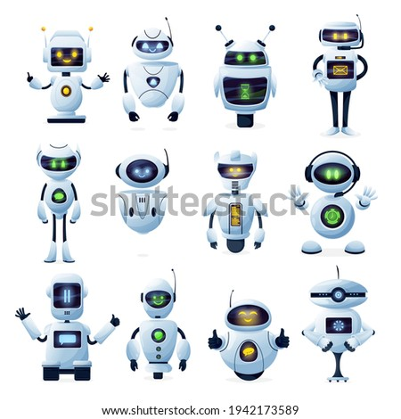 Robots and chatbots, AI bots characters, vector cartoon vector future mascots. Android robots, chatbots and digital cyborgs, futuristic technology service and communication artificial intelligence
