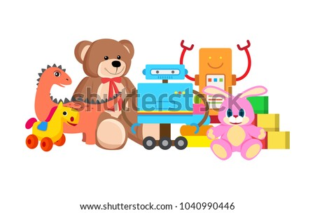 Robots and horse collection of toys, kids toys with teddy bear and bunny with long ears, cubes set vector illustration isolated on white background