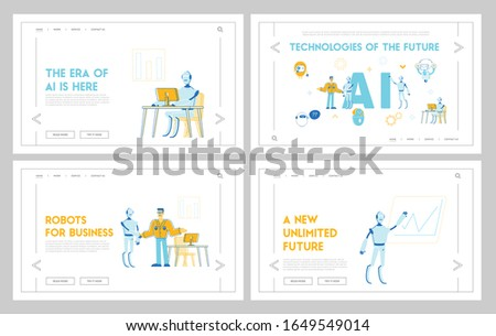 Robots and People Work Together Website Landing Page Set. Artificial Intelligence and Human Collaboration in Business and Office, Technology Web Page Banner. Cartoon Flat Vector Illustration, Line Art