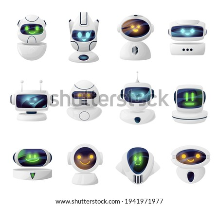 Robots, androids heads with cute faces on screen. Smiling androids cartoon characters, artificial intelligence robot mascot or cybernetic alien life form with glowing eyes and mouth on display vector