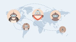 Robots around the world vector flat illustration. World map with robot avatars. Modern and future technologies, artificial intelligence concept. Automatic robot assistants at work and life.