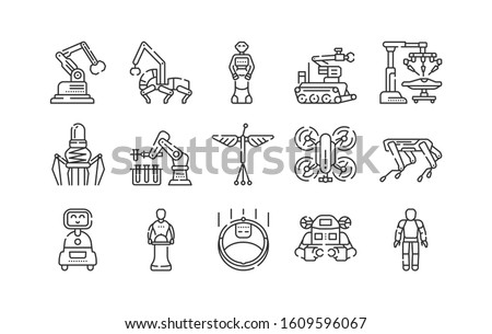 Robots black line icons set. Innovation in technology. Assistants for people in different industries. Sign for web page, app. UI UX GUI design element. Editable stroke.