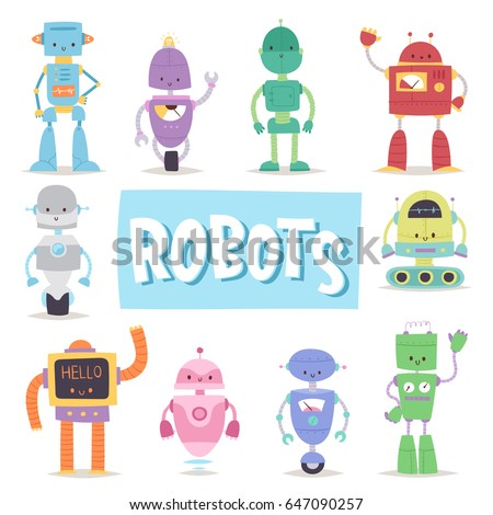 Robots cute vector characters and transformer vector androids retro set cartoon toys character future artificial robotics machine cyborg  illustration