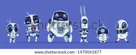 Robots evolution. Creative cartoon characters of futuristic robots, artificial intelligence education evolution concept. Vector IT future robotics AI set