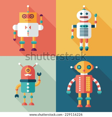 robots flat square icons with