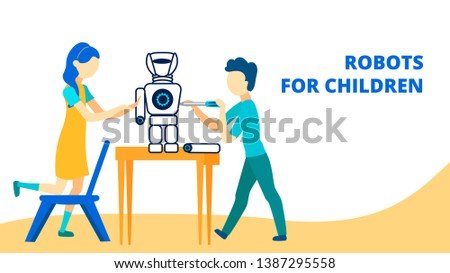 robots for children flat vector