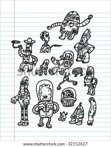 Robots Hand Drawn SET 2 - Vectors