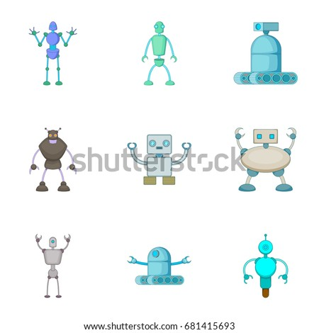 robots invaders icons set