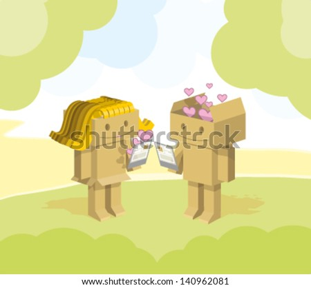Robots made ??of cardboard flirting in the park - stock vector