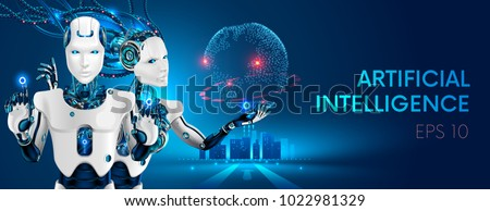 robots man and woman with