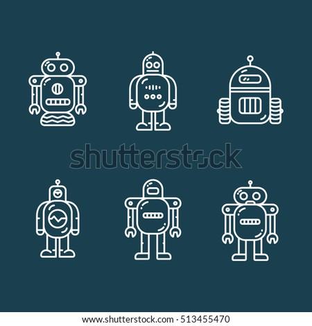 robots minimalistic line icon