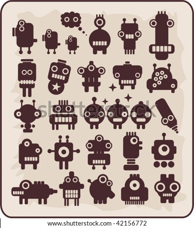 Robots, monsters, aliens collection #4. Vector illustration.