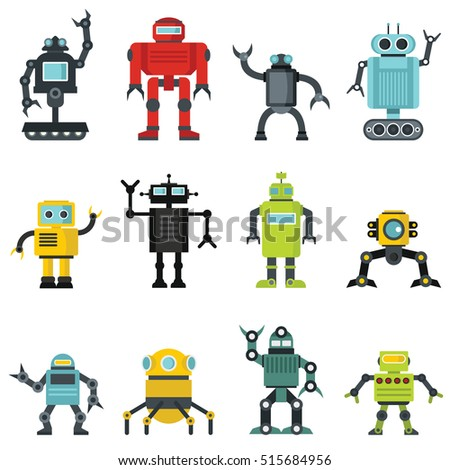robots set in cartoon flat