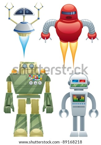 Robots: Set of 4 cartoon robots over white background. No transparency used. Basic (linear) gradients.