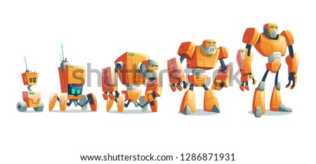 Robots technological evolution from primitive wheeled droid over four-footed android to humanoid cyborg cartoon vector illustration isolated on white background. Artificial intelligence, alien machine