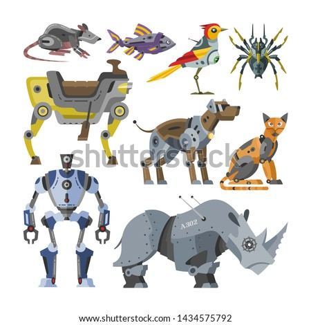 Robots vector cartoon robotic kids toy animal character cat dog robotics monster transformer cyborg transform robotically illustration set of animalistic machine isolated in white background