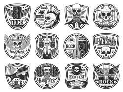 Rock and heavy metal music festival icons. Hard rock concert, live show and fest emblems. Human skulls with mohawk hairstyle, demon horns and crown, electric guitars, audio speakers engraved vector