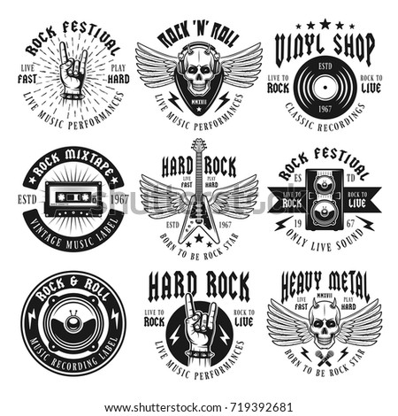 Rock and heavy metal music set of nine vector emblems, labels, badges or logos in vintage monochrome style isolated on white background