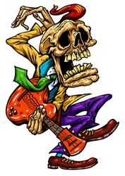 Rock and roll character. Dancing and guitar playing skeleton in the rockabilly style. Cartoon Vector color illustration. T-shirt print music poster