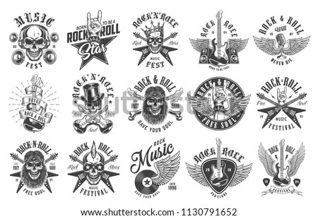 rock and roll emblems set on