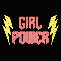 Rock and Roll Girl Female Fashion Slogan. Punk girl gang, Girl Gang patches, badges T-shirt apparels print tee graphic design.