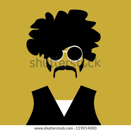 rock and roll guy with wild hair and sunglasses